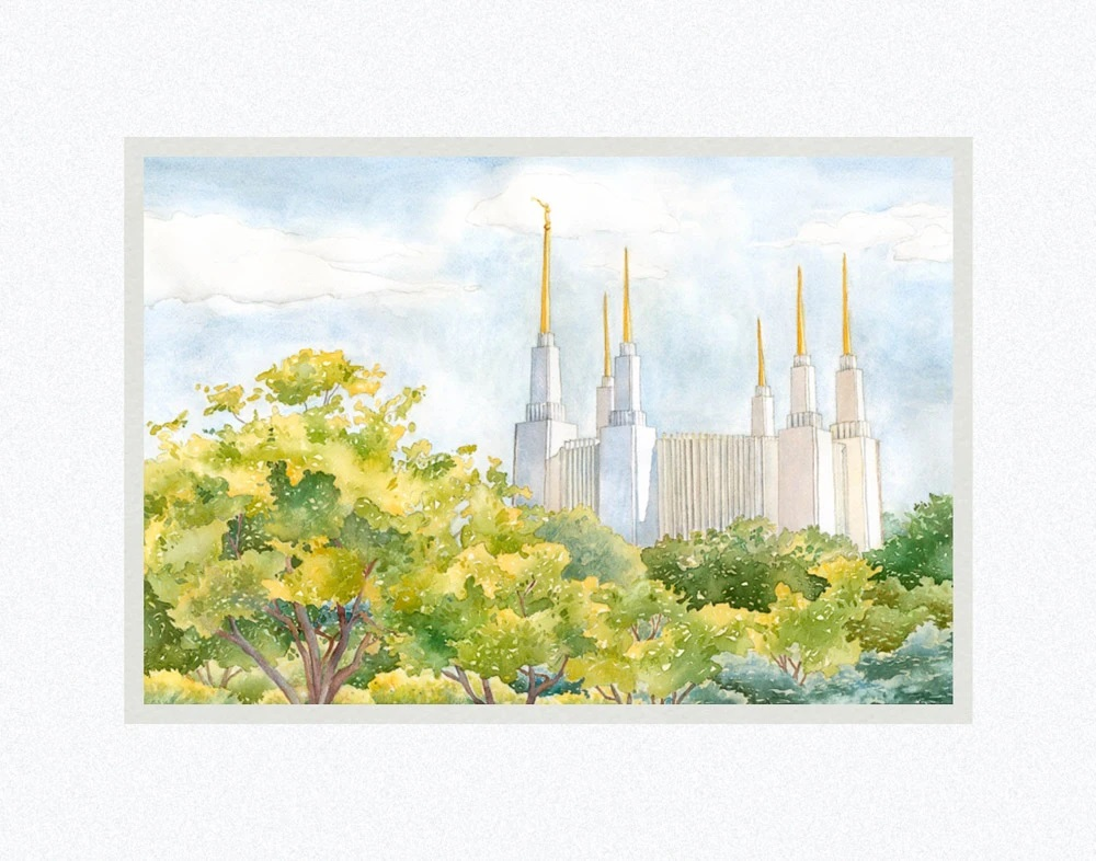 AF -11×14 Print -  Washington DC Temple  / 11x14 matted/Anne Bradham<BR>ワシントンDC神殿 11×14 マットプリント