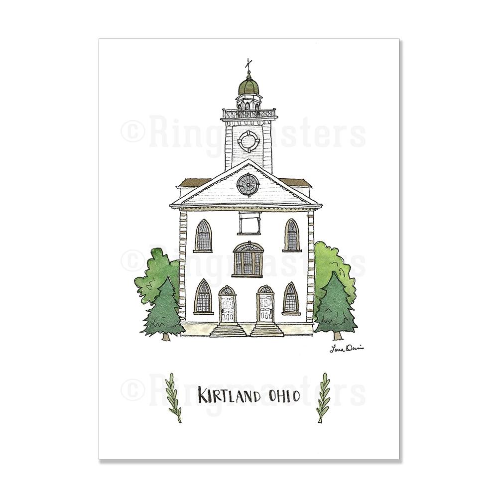 """RM - 5 x 7 Print -Kirtland Ohio Illustration by: Laura Davies 5 x 7"""" <BR/>オハイオ州カートランド神殿(ラウラ・デービス画)プリントカード5 x 7"""""""